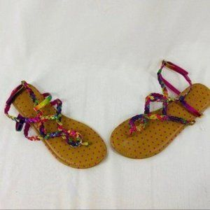 Piper Colorful Rainbow Braided Sandals Size 5